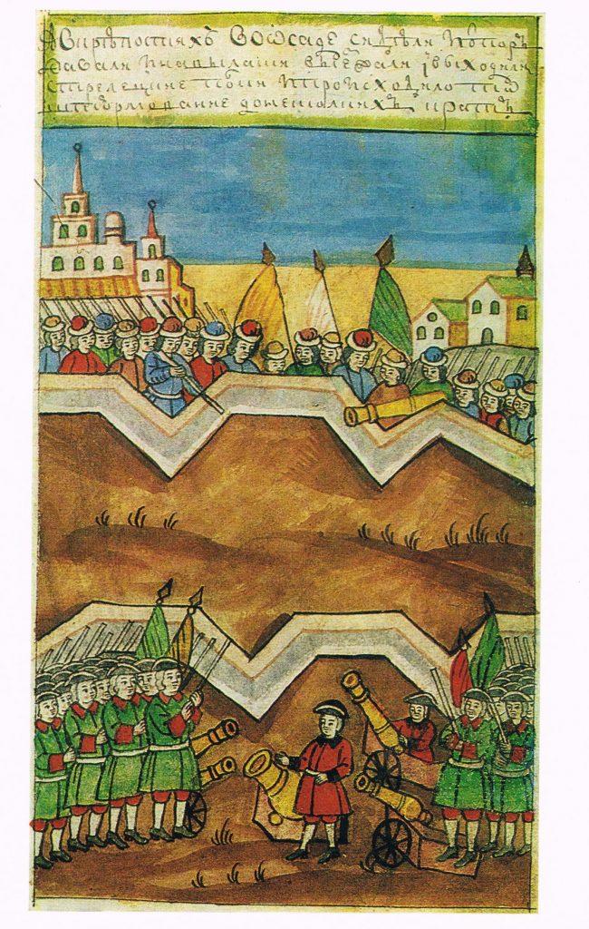 Кожуховские походы - военные игры Петра в Нагатино. Сверху видны строения Коломенского.