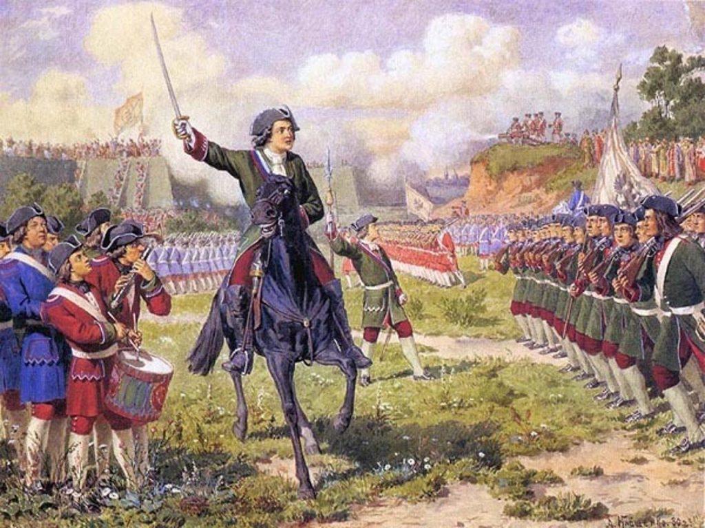 Пётр I командует Преображенским полком во время кожуховских походов